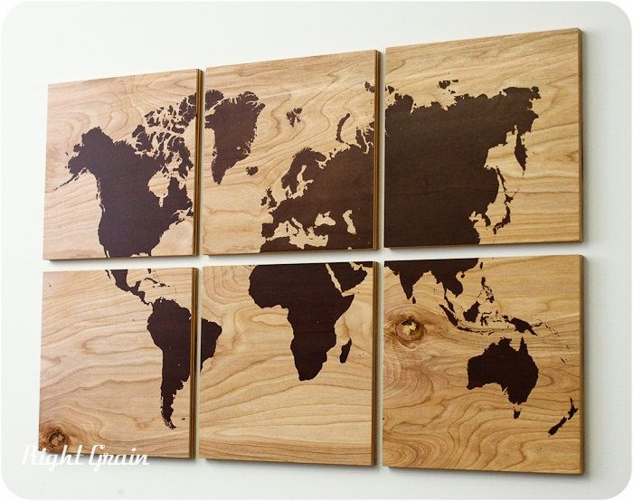 art-print-on-wood-wood-grain-world-map-screen-print-large-wall-art-rustic-home